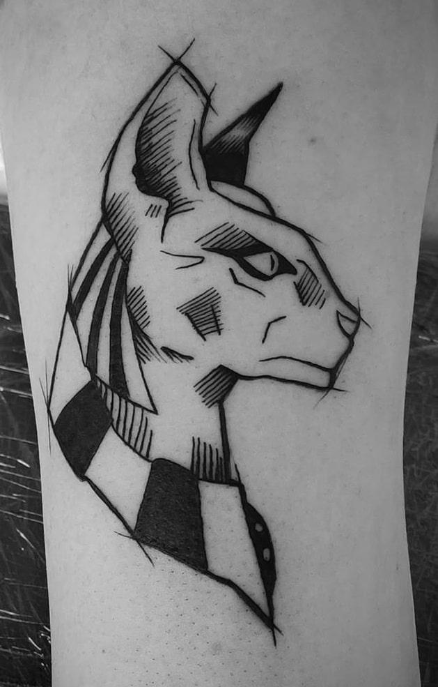 Sketchy Bastet Tattoo