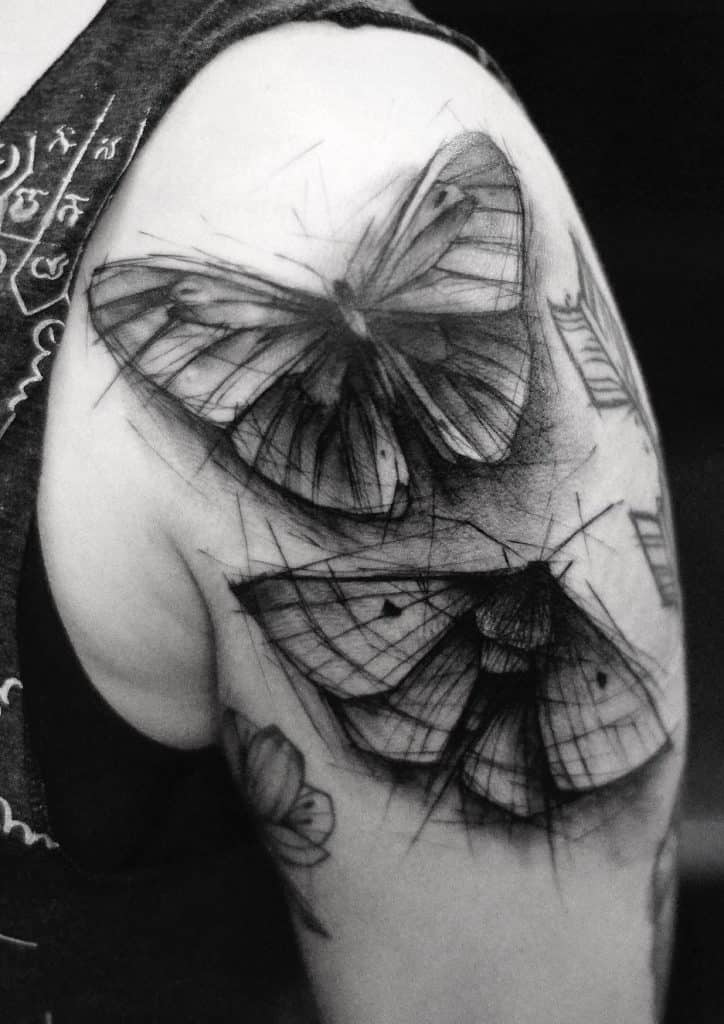 Sketchy Butterfly Tattoo