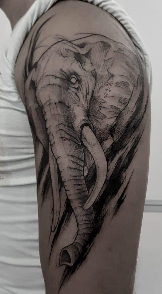 Sketchy Elephant Head Tattoo