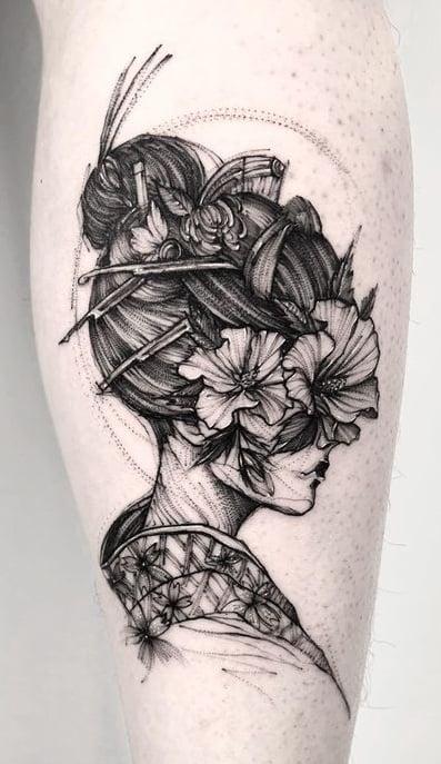 Sketchy Geisha Tattoo