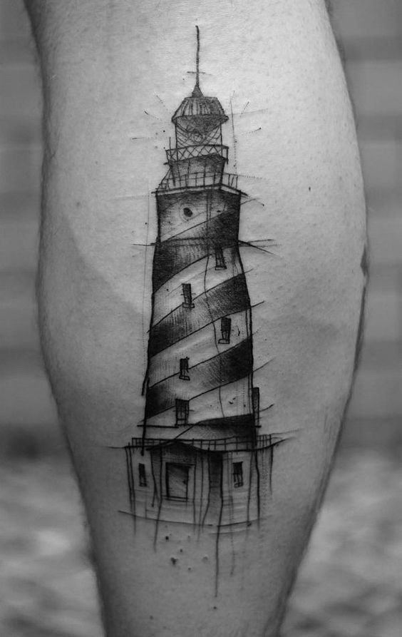 Sketchy Lighthouse Tattoo