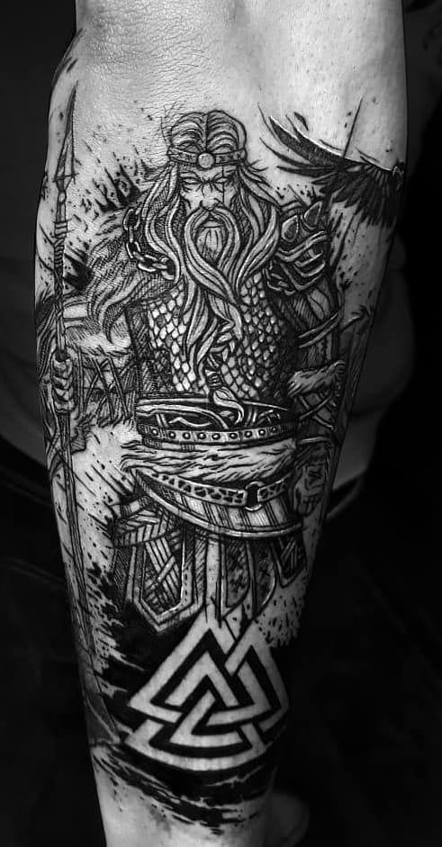 Sketchy Odin Tattoo