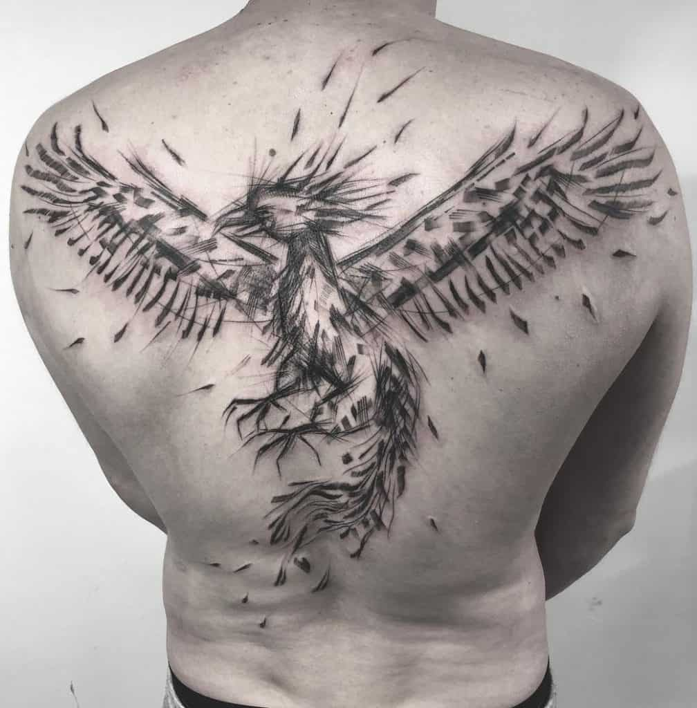 Sketchy Phoenix Tattoo