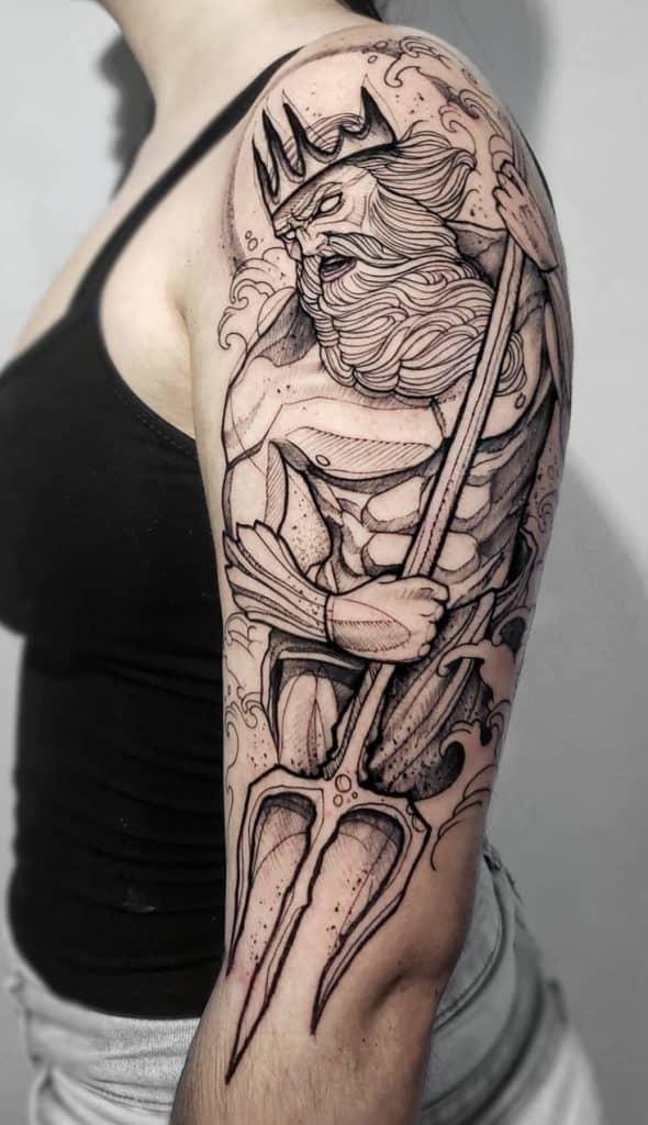 Sketchy Poseidon Tattoo