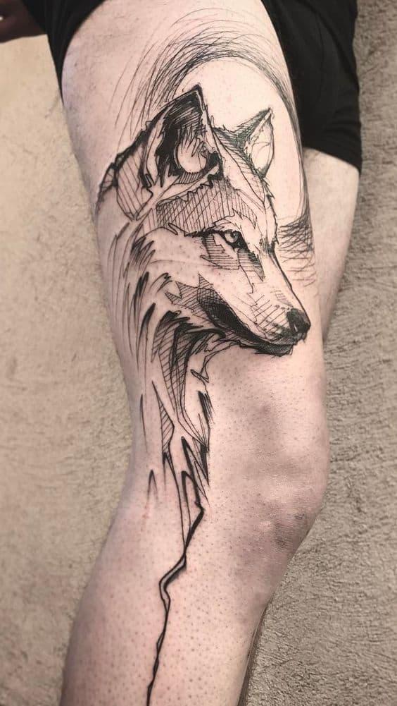 Sketchy Wolf Tattoo