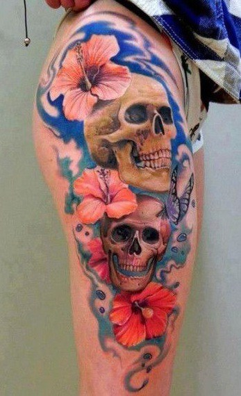 Skull and Hibiscus Tattoo