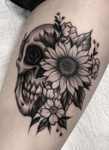 Skull and Sunflower Tattoo