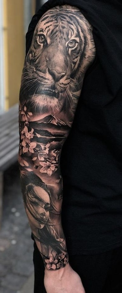 Sleeve Tiger Tattoo