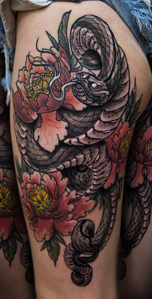 Snake and Peony Tattoo