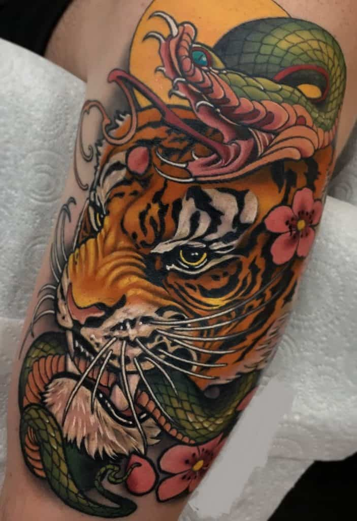 Snake and Tiger Tattoo