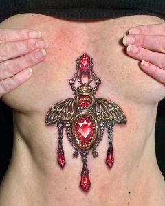 Sternum Gemstone Tattoo