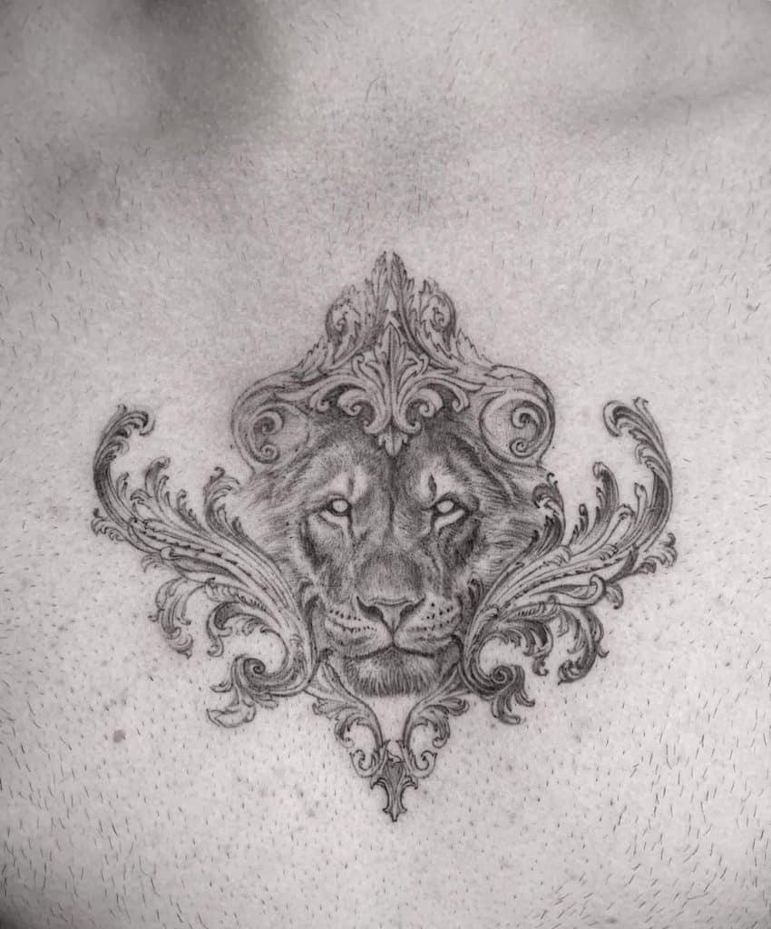 Sternum Lion Tattoo
