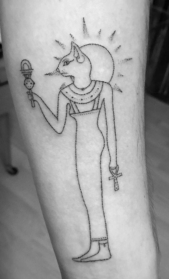 Stick and Poke Bastet Tattoo
