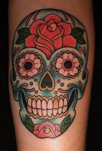 Sugar Skull Tattoo with Roses