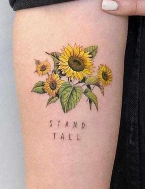 Sunflower & Lettering Tattoo