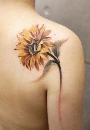 Sunflower Tattoo On The Shoulder
