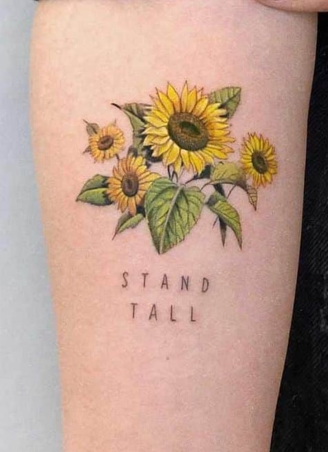 Sunflower Tattoo with Words