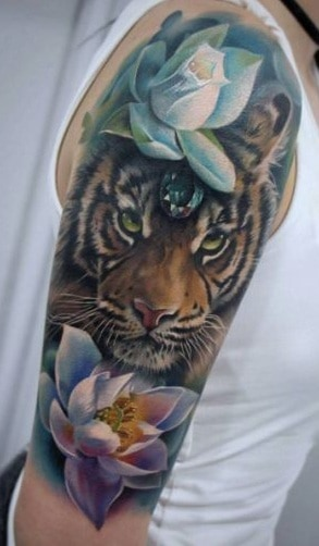 Tiger Tattoos on the Upper Arm