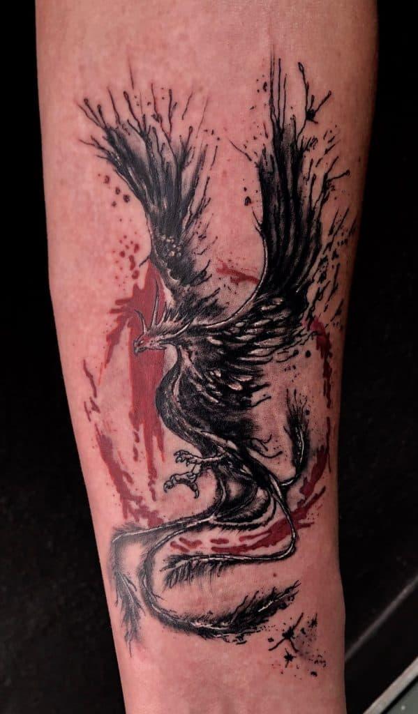 Trash Polka Phoenix Tattoo