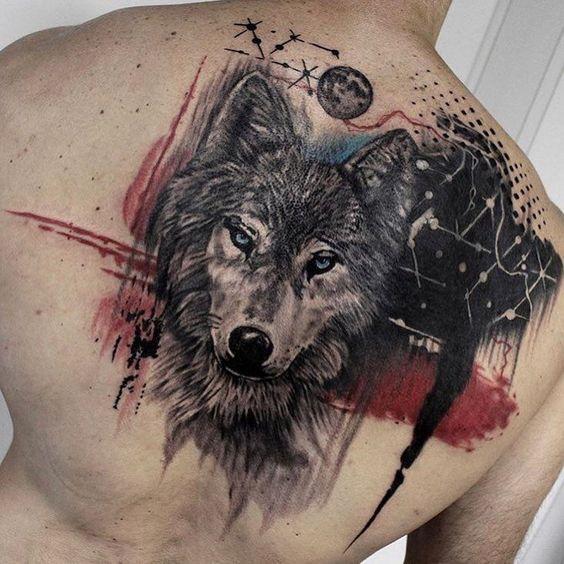 Trash Polka Wolf Tattoo