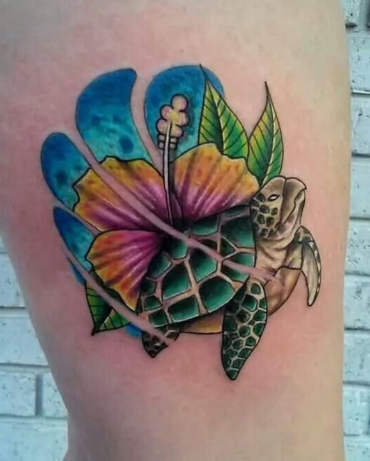 Turtle Hibiscus Tattoo