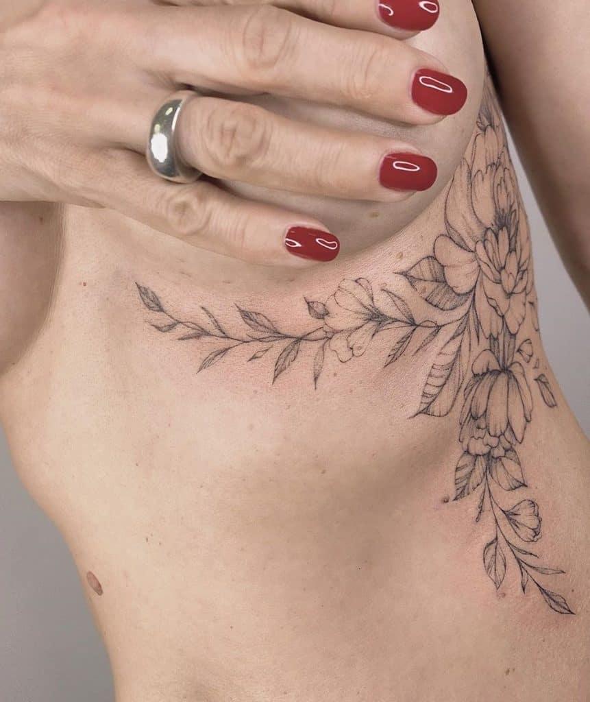 Under-boob Peony Tattoo