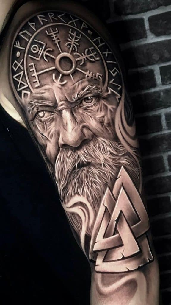 Viking Compass and Odin Tattoo