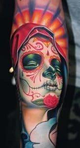 Virgin Mary Sugar Skull Tattoo