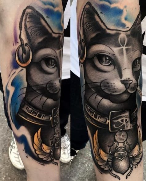 Watercolor Bastet Tattoo