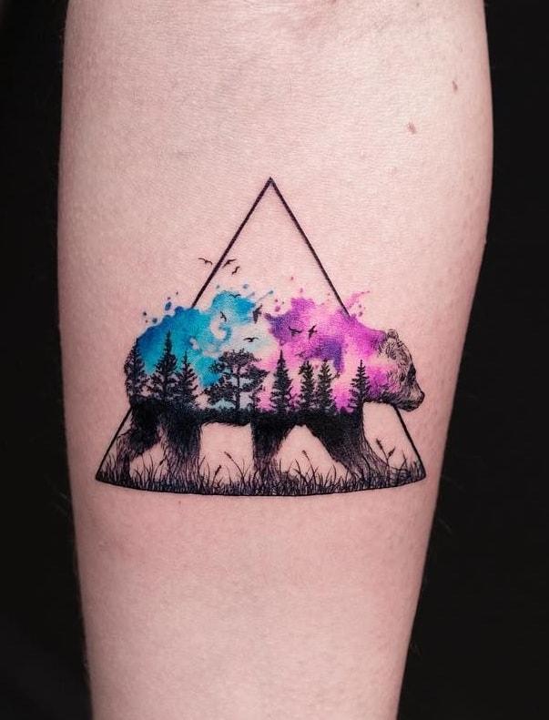 Watercolor Bear Tattoo