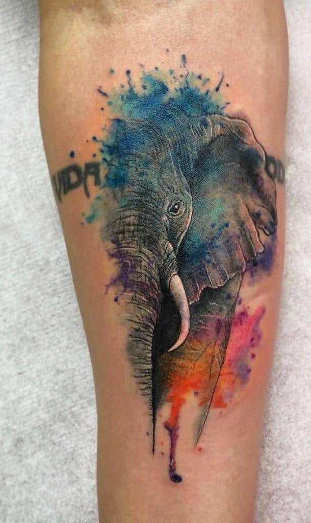 Watercolor Elephant Head Tattoo