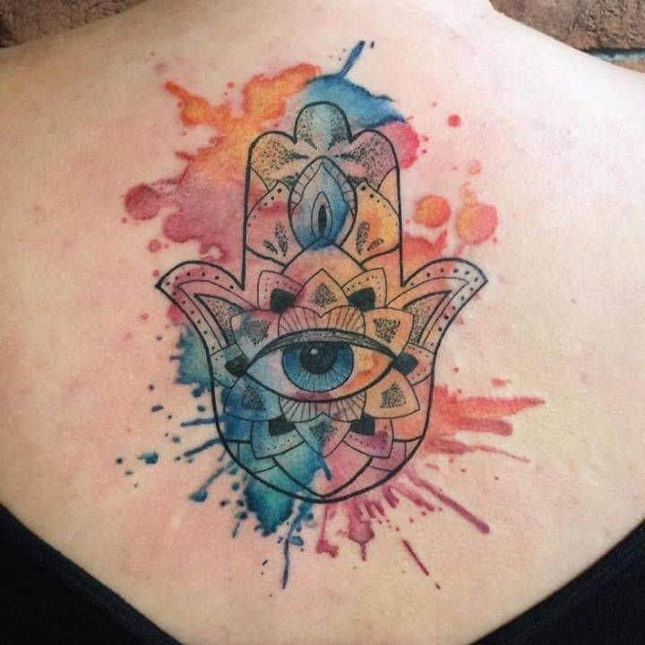 Watercolor Hamsa Tattoo
