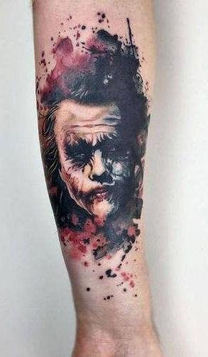 Watercolor Joker Tattoo