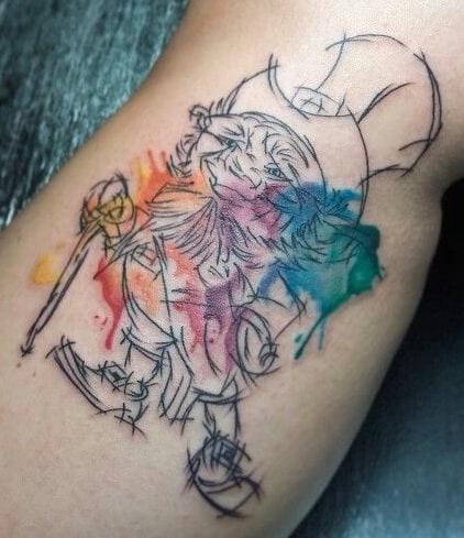 Watercolor Leprechaun Tattoo