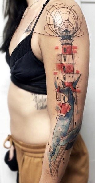 Watercolor Lighthouse Tattoo
