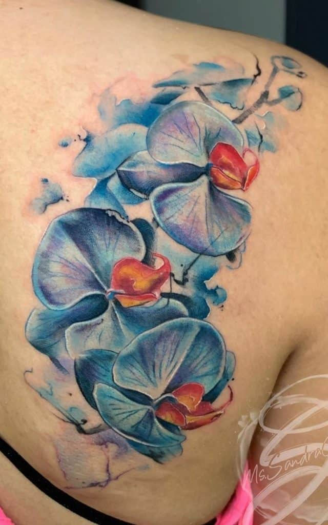 Watercolor Orchid Tattoo