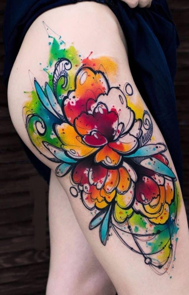 Watercolor Peony Tattoo