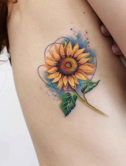 Watercolor Sunflower Tattoo
