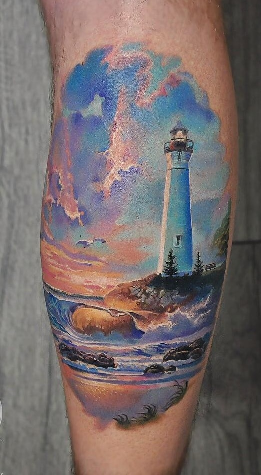 Waves and Lighthouse Tattoo