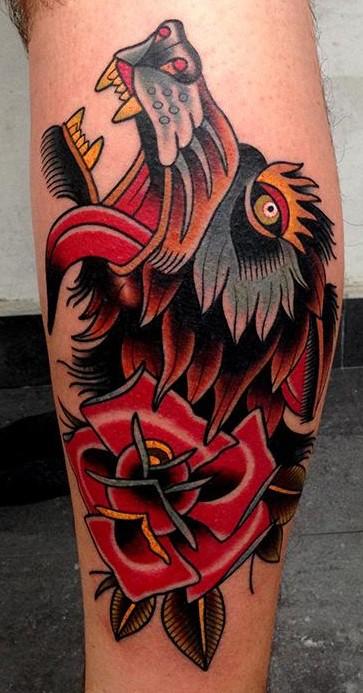 Wolf & Rose Tattoo