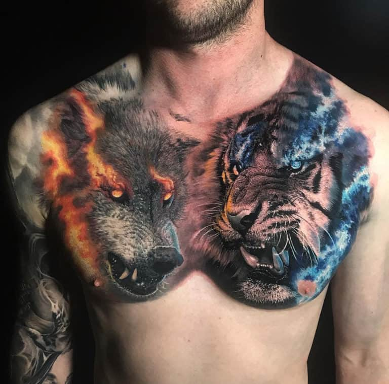 Wolf and Tiger Tattoo