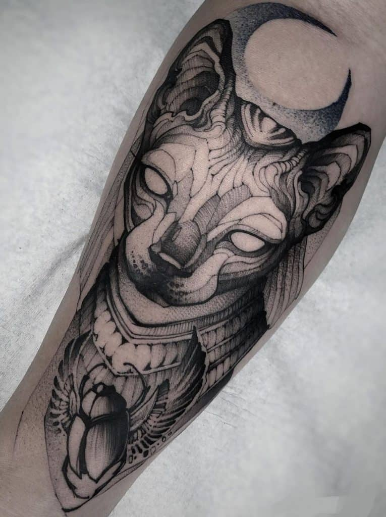 Woodcut Bastet Tattoo