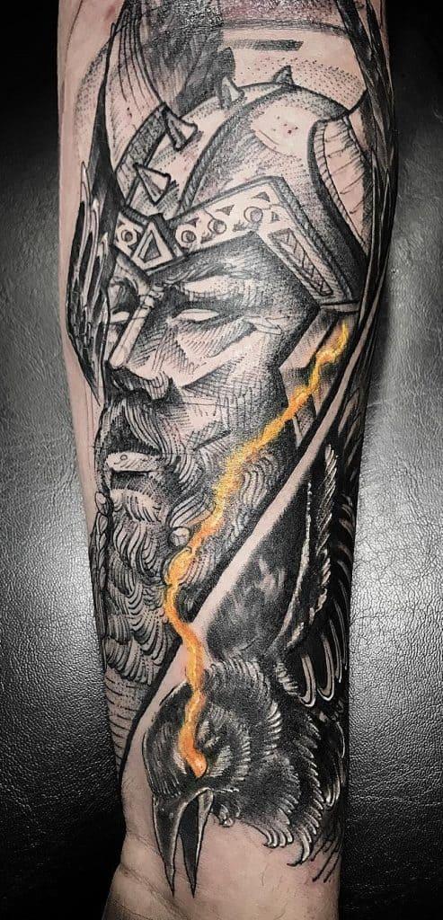 Woodcut Odin Tattoo