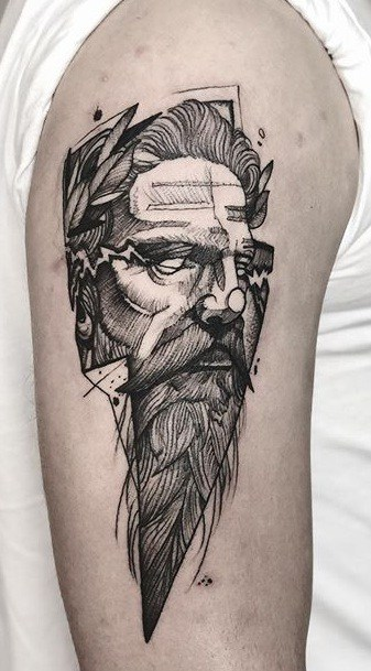 Zeus Sketch Tattoo
