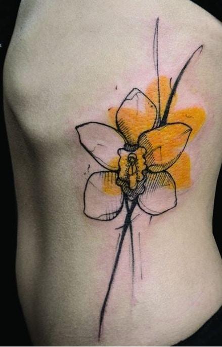 Sketchy Daffodil Tattoo