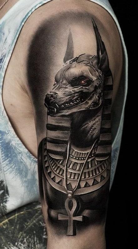 Ankh and Anubis Tattoo