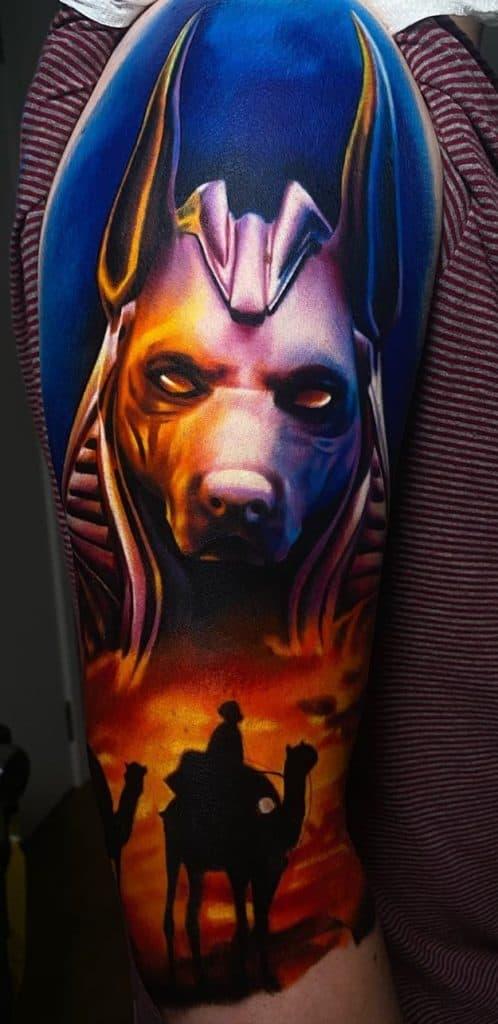 Anubis Tattoo Half Sleeve