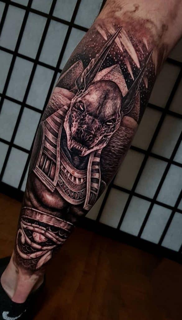 Anubis Tattoo on Calf