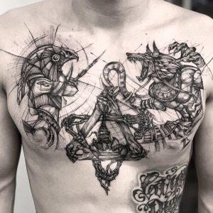 Anubis Tattoo on Chest