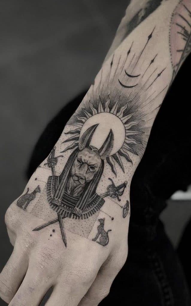 Anubis Tattoo on Hand